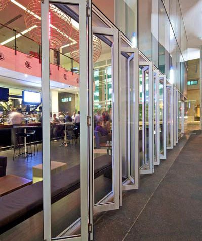 Multi-fold glass doors