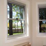 Glass windows on white walls