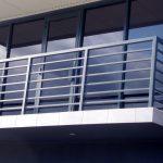 Sliding glass doors on balcony